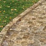 wooden paver / pedestrian / garden / outdoor