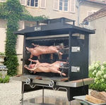 wood-burning rotisserie / charcoal / mobile / with 2 pins