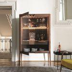 contemporary bar cabinet / walnut / ash / smoked glass