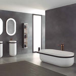 polymer stone slab / matte / for walls / for floors