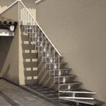 straight staircase / quarter-turn / metal frame / metal steps