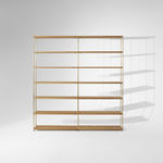 contemporary shelf / oak / lacquered MDF / powder-coated steel