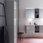 contemporary bathroom cabinet / glass / high / home