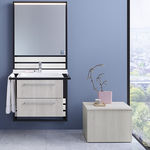 contemporary sideboard / wooden / with shelf / white