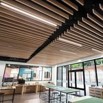 metal suspended ceiling / strip / acoustic / perforated