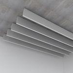 steel acoustic baffle / hanging / rectangular / decorative