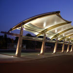 metal frame tensile structure / canopy / for public spaces