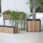 teak planter / aluminum / square / contemporary