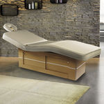 electric massage table / wooden / height-adjustable / with storage compartment