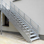 straight staircase / metal / metal steps / without risers