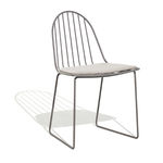 contemporary garden chair / sled base / with removable cushion / metal