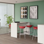 contemporary high bar table / melamine / metal base / round