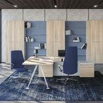 executive desk / wood / melamine / smoked glass