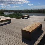 public bench / minimalist design / wooden / galvanized steel