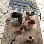 acrylic waste paper basket / jute