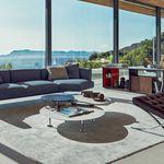 contemporary coffee table / wood veneer / glass / laminate
