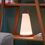 portable lamp / contemporary / brushed aluminum / glass