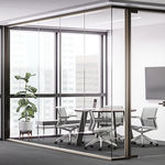 fixed partition / glass / for offices / acoustic