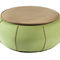 contemporary coffee table / leather / fabric / round