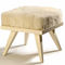 contemporary stool / solid wood / leather / fabric