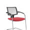 contemporary visitor chair / stackable / upholstered / with armrests