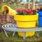polyethylene planter / round / with integrated bench / contemporary