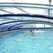 low swimming pool enclosure / sliding / aluminum / polycarbonate