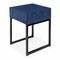contemporary bedside table / glossy lacquered wood / lacquered metal base / square