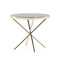contemporary side table / wooden / metal base / round