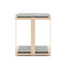 contemporary side table / wooden / stainless steel base / square