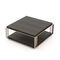 contemporary coffee table / eucalyptus / stainless steel base / square