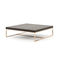 contemporary coffee table / wooden / polished stainless steel base / square