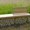 public bench / garden / contemporary / solid wood