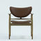 Scandinavian design armchair / fabric / leather / oak