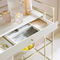 contemporary shelf / lacquered metal / glass / laminate