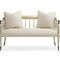 traditional upholstered bench / fabric / lacquered wood / lacquered metal