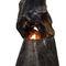 gas fireplace / original design / open hearth / free-standing