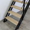 straight staircase / metal frame / wooden steps / metal steps