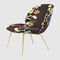 contemporary fireside chair / fabric / black / green
