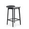 contemporary bar stool / leather / lacquered steel / solid wood