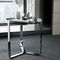 contemporary side table / glass / chromed metal / round