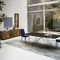 contemporary dining table / glass / steel / ceramic