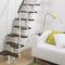 straight staircase / quarter-turn / steel frame / wooden steps