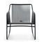contemporary armchair / stainless steel / polyester / sled base