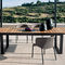 contemporary dining table / teak / stainless steel / stainless steel base