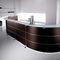 semicircular reception desk / modular / wooden / metal