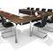 contemporary boardroom table / metal / MDF / wood veneer