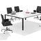 contemporary conference table / wood veneer / HPL / metal
