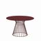 contemporary table / lacquered wood / melamine / metal base