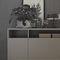 low filing cabinet / wood veneer / metal / glass